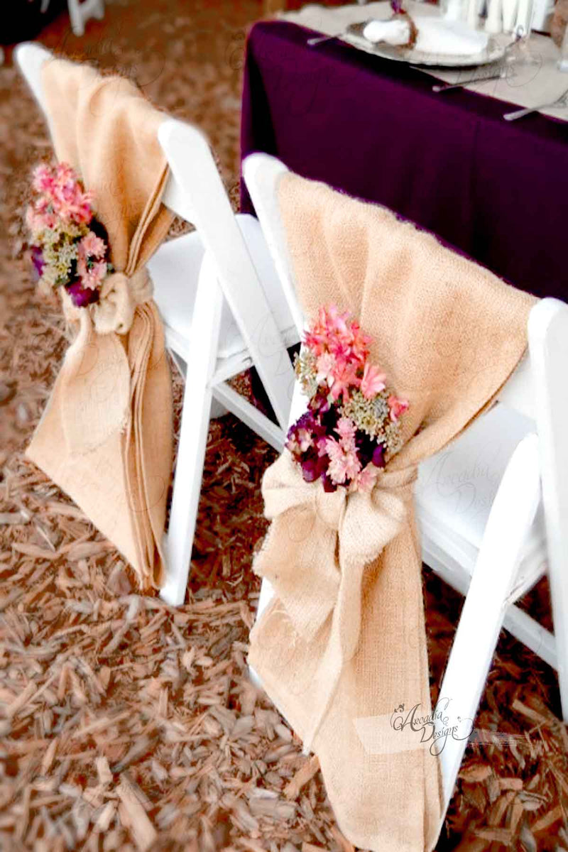 Arcadia Designs Natural Burlap Folding Chair Sash Regular Wide