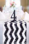 Chevron Black & White Sequin Runner