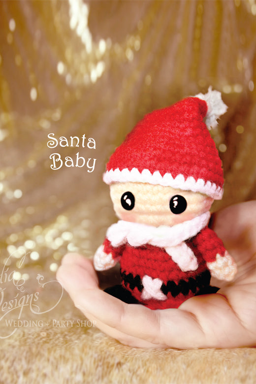 Arcadia Designs Christmas Santa Claus baby Crochet Amigurumi Ornament Xmas Tree decoration