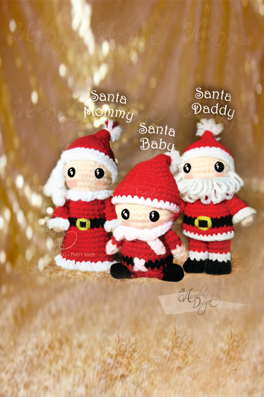 Arcadia Designs Christmas Santa Claus family Crochet Amigurumi Ornament Xmas Tree decoration