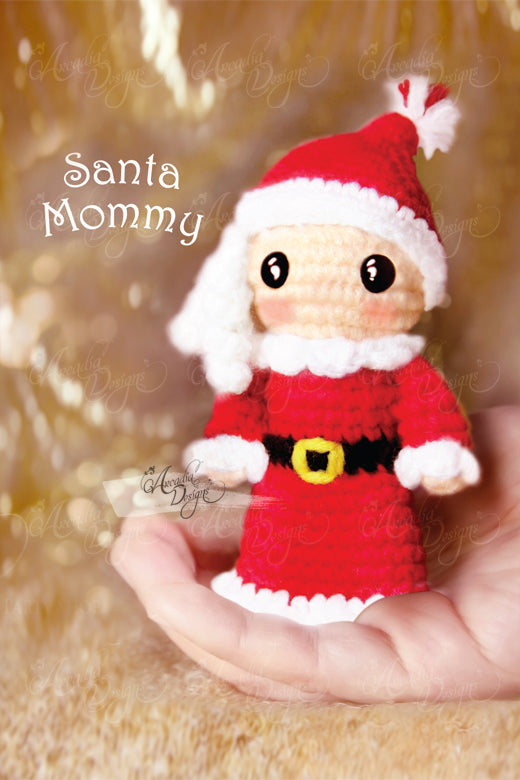 Arcadia Designs Christmas Santa Claus woman Crochet Amigurumi Ornament Xmas Tree decoration