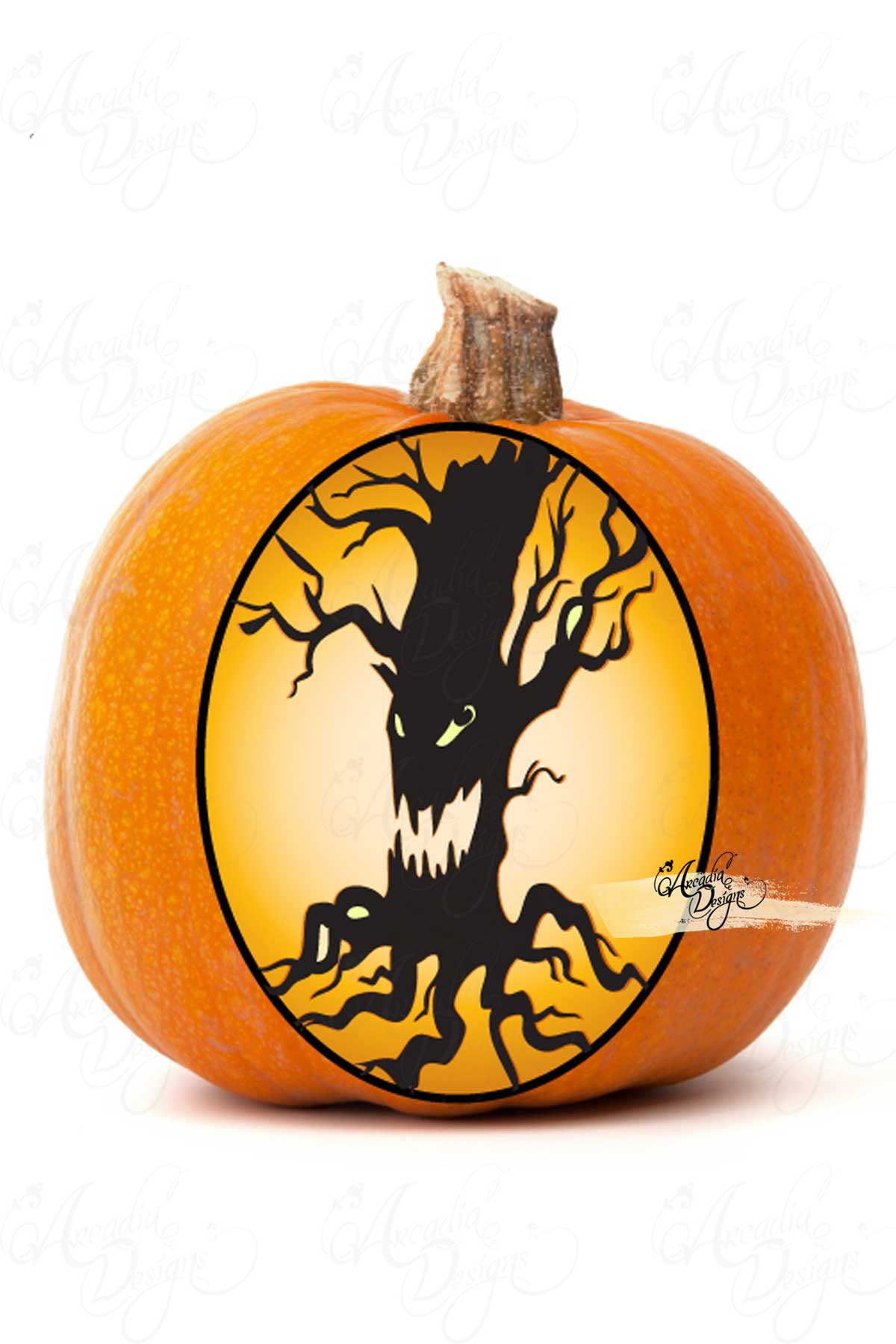 Arcadia Designs Halloween Scary Tree Face Pumpkin Carving stencil