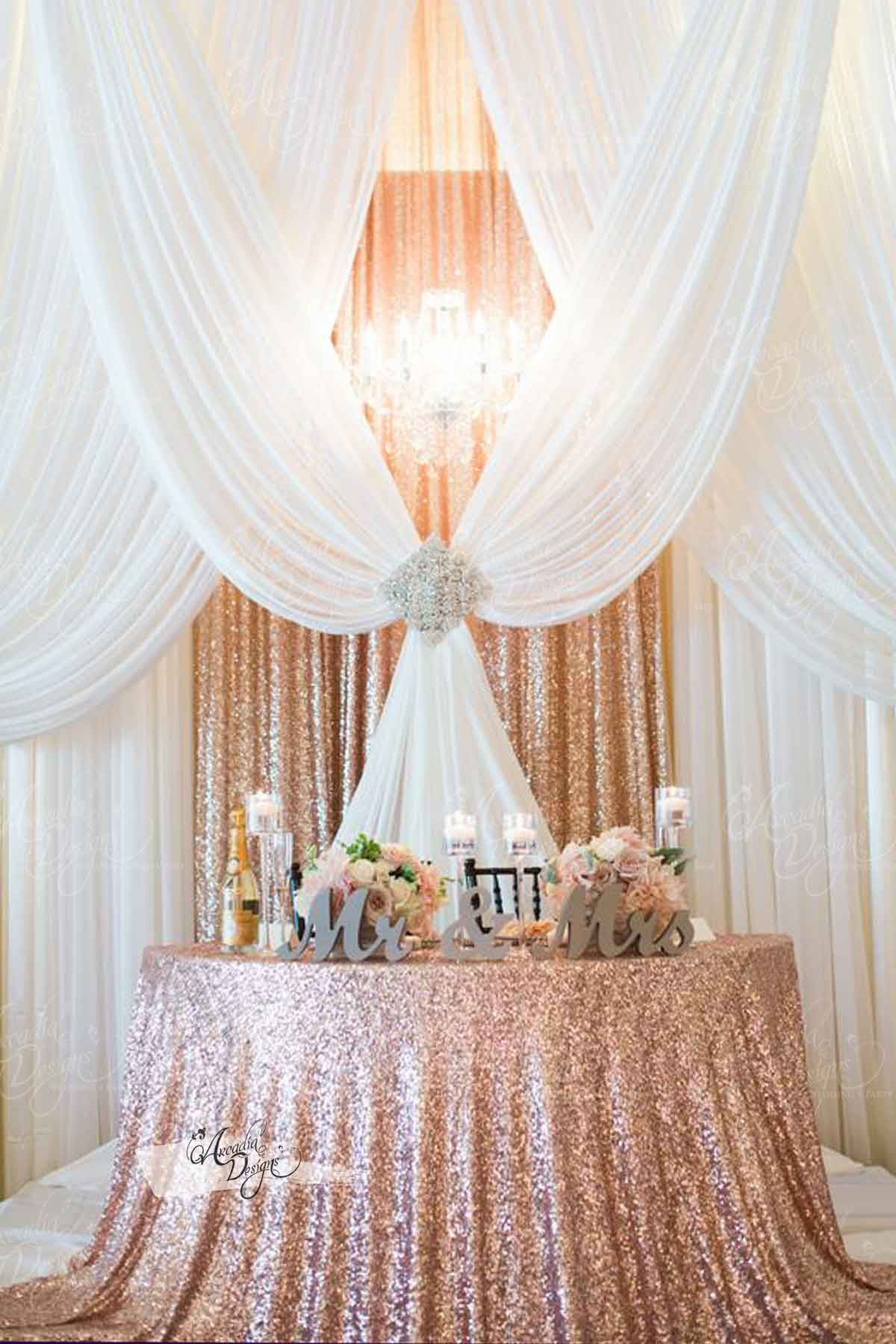 Arcadia Designs Pink and Gold Wedding Drapes 4 W  x  6 L  ft