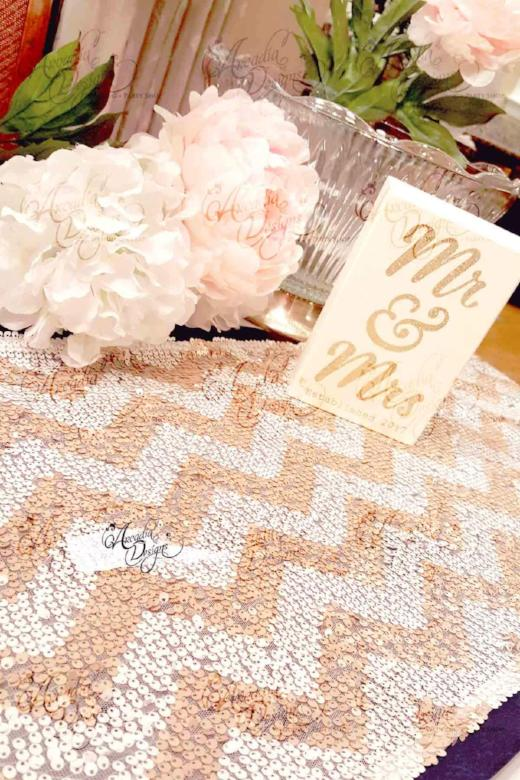 Arcadia Designs Chevron Champagne & White Sequin Runner 14 x 108 inches  4 ft table