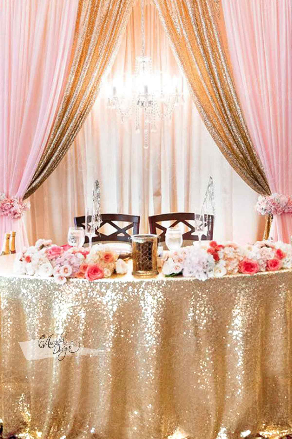 Arcadia Designs Bright Gold Sequin Sweet Table cloth