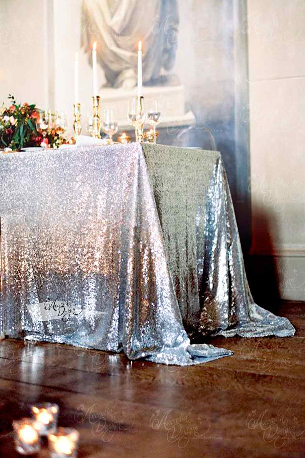Arcadia Designs Sterling Silver Sequin Tablecloth