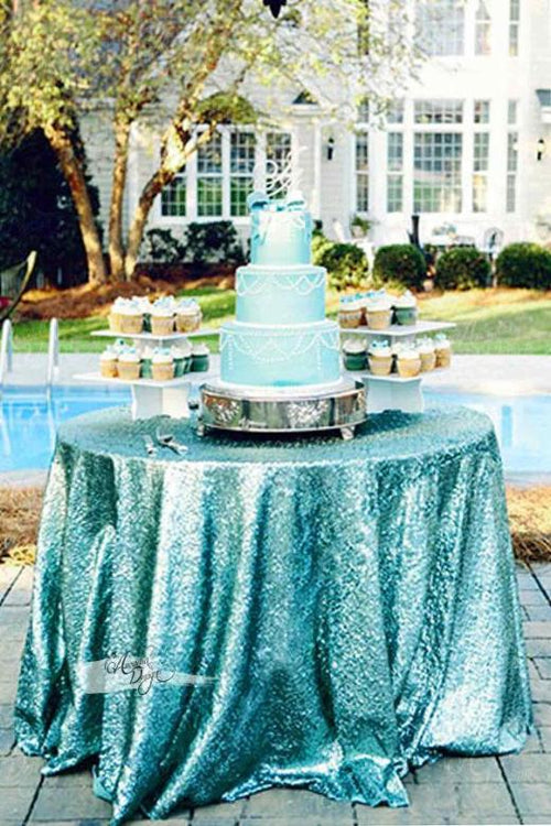 Shimmer Turquoise Sequin Tablecloth