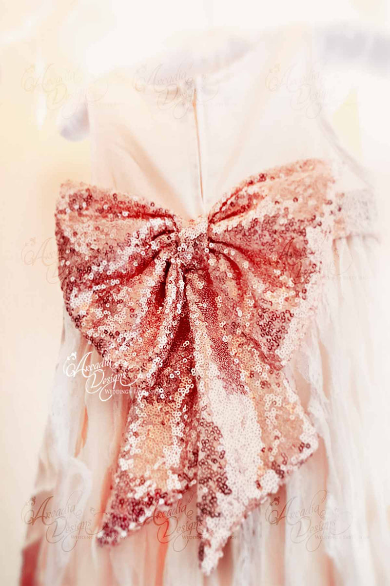 Arcadia Designs Rose Gold Sequin Large Waist Bow Rose Gold Rose Pink