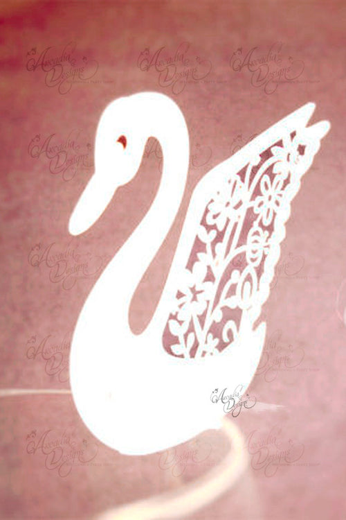 Swan Silhouette Wine Glass Escort Card