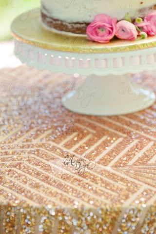 Geometric Rose Gold Sequin Tablecloth
