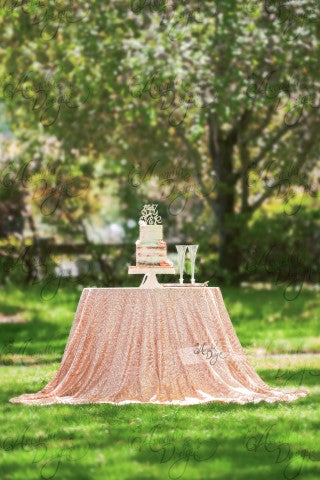 Arcadia Designs Geometric Rose Gold Sequin Tablecloth Silver