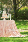 Arcadia Designs Geometric Rose Gold Sequin Tablecloth Blush Pink