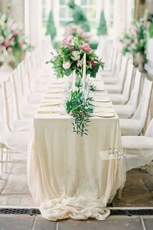 Silk Natural White Chiffon Tablecloth