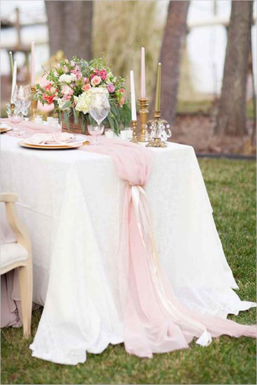Arcadia Designs Silk Blush Pink Chiffon Table Runner Romantic Decor