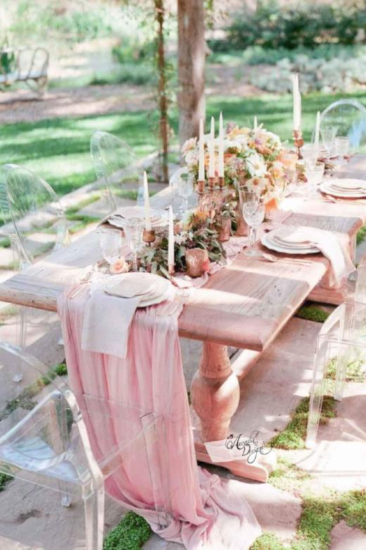 Arcadia Designs Flowy Chiffon Light Pink Table Runner Bridal Decor