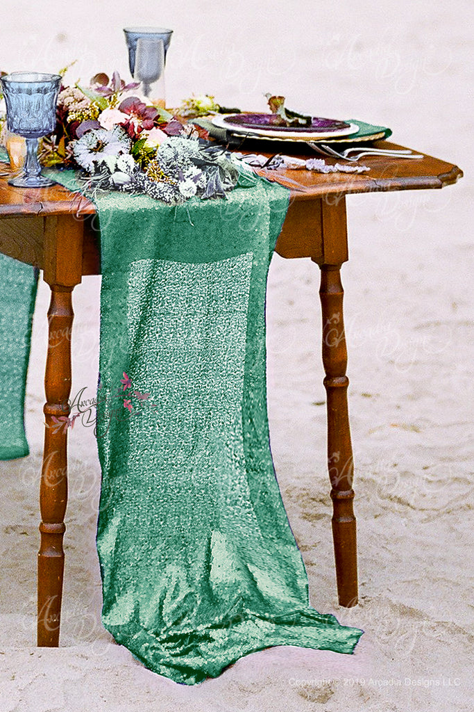 Mint Geen Sequin Table Runner