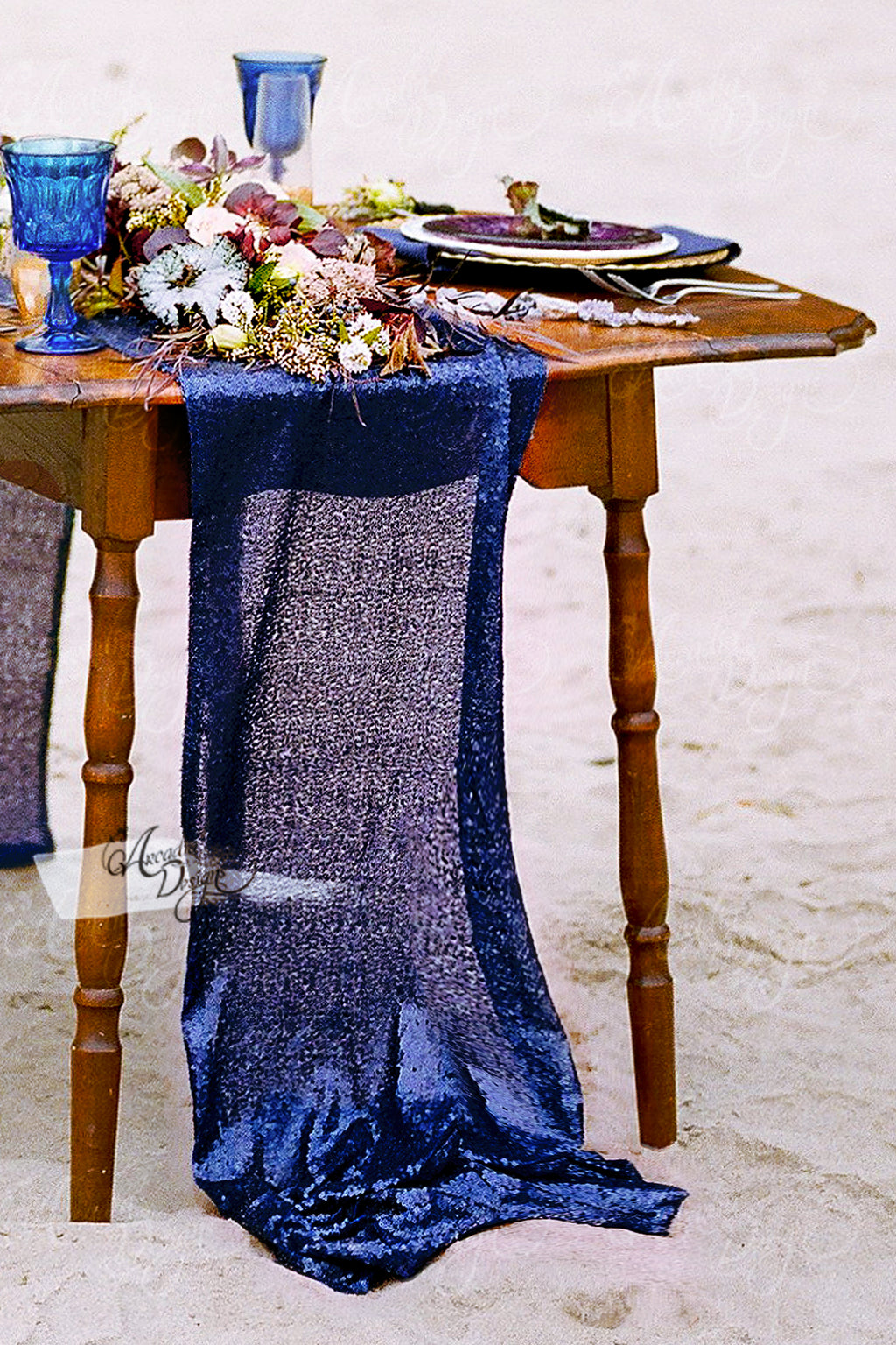 Shimmery Navy Blue Sequin Table Runner