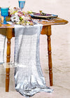 Matt Cyber Silver sequin glitz table runner for wedding event party by arcadia designs