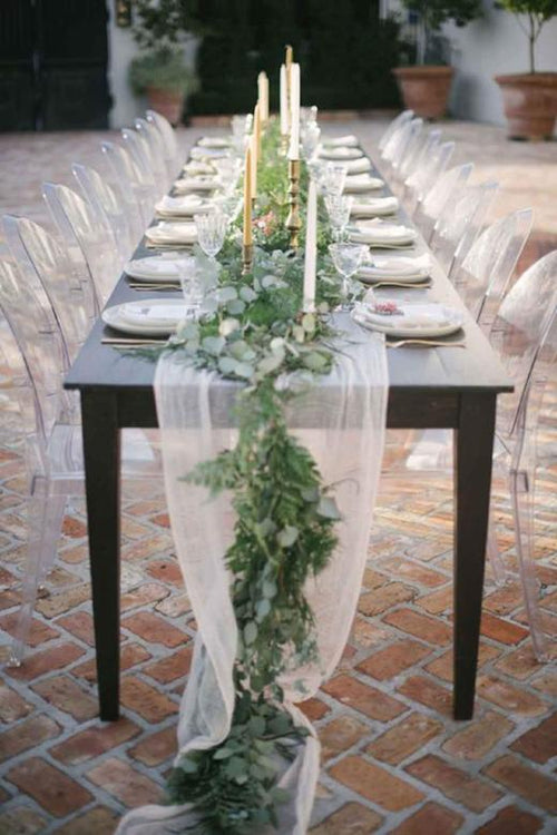Sheer Natural White Chiffon Table Runner