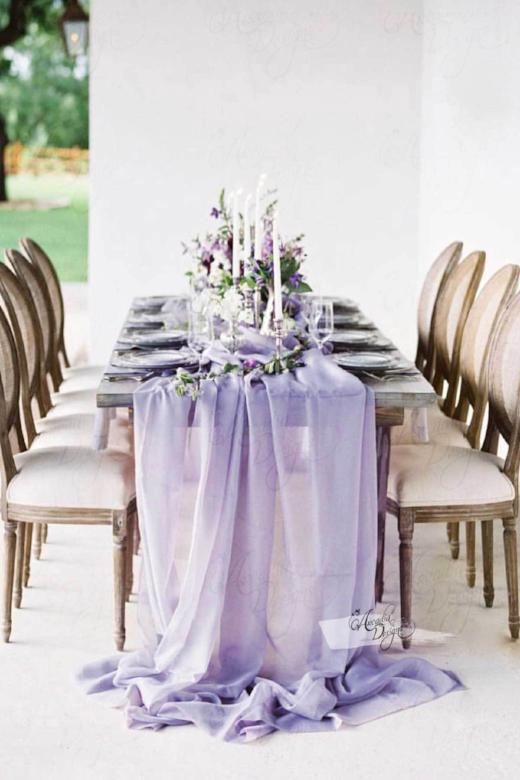 Arcadia Designs Silky Lavender Chiffon Table Runner