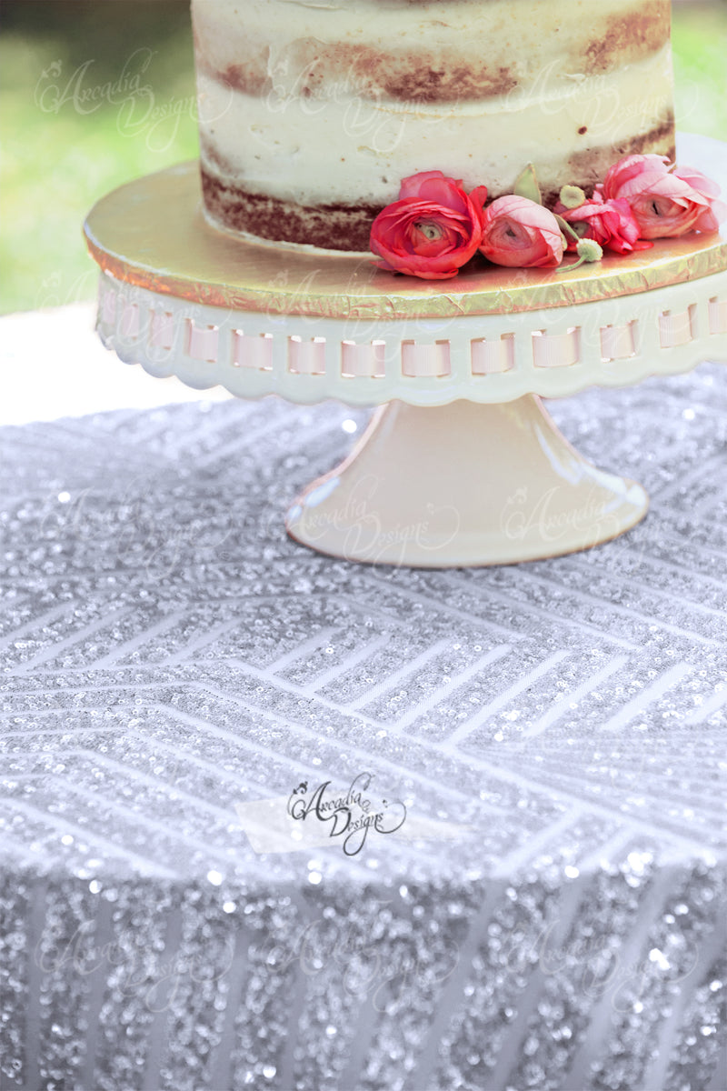 Geometric Silver Sequin Table Runner