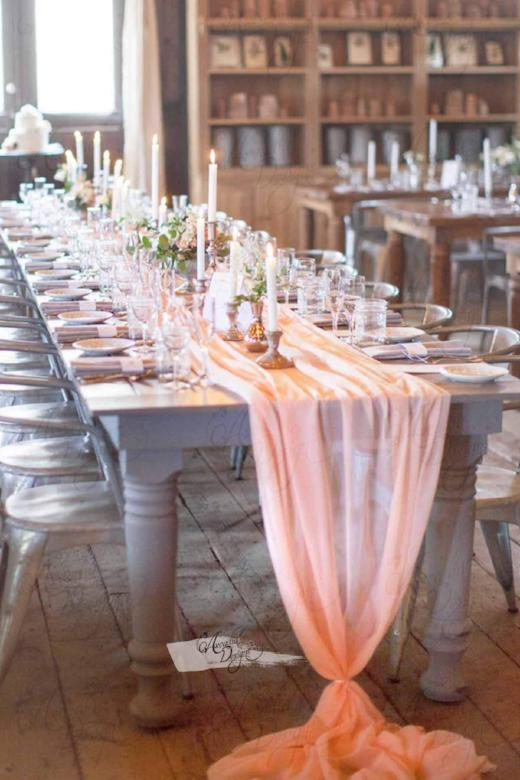 Arcadia Designs Blush Peach Chiffon Table Runner