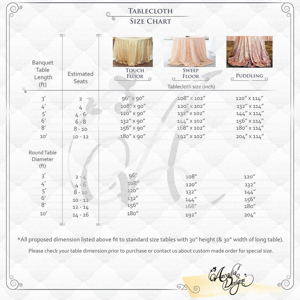 Arcadia Designs Event Wedding Tablecloth Size Chart