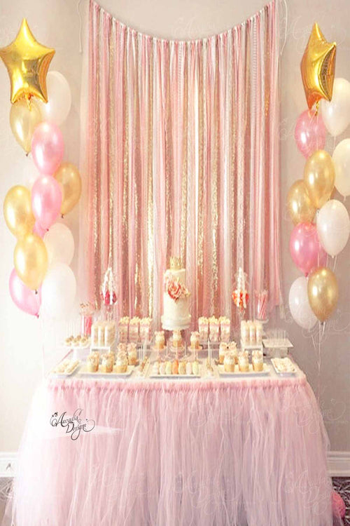 Blush Pink & Gold Tassel Backdrop