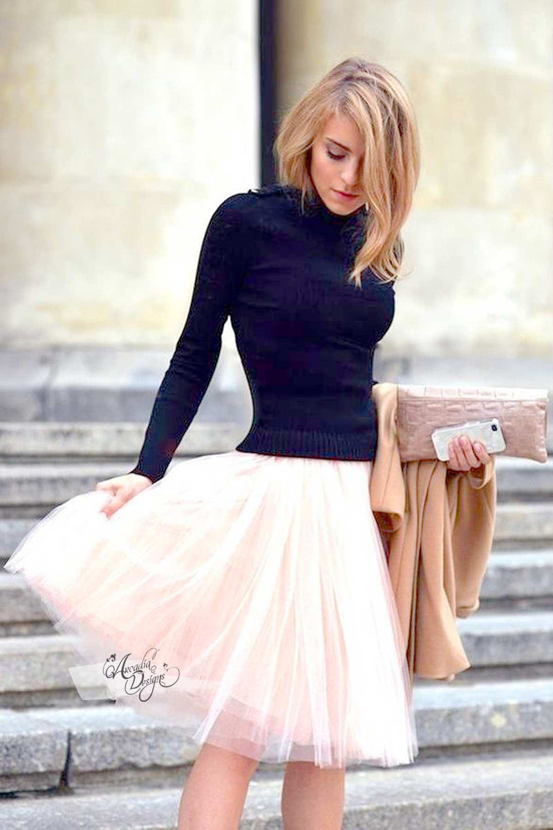 Arcadia Designs Blush Pink Tutu Skirt & Rose Gold Waist Bow Blush Pink