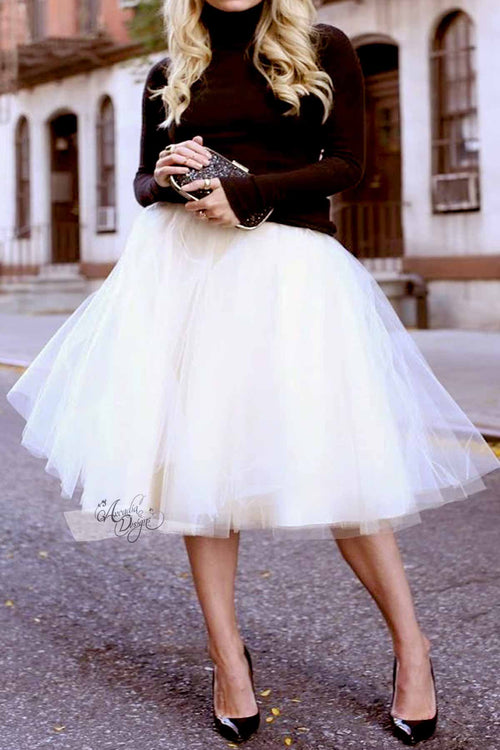 Natural White Tutu Skirt & Rose Gold Waist Bow