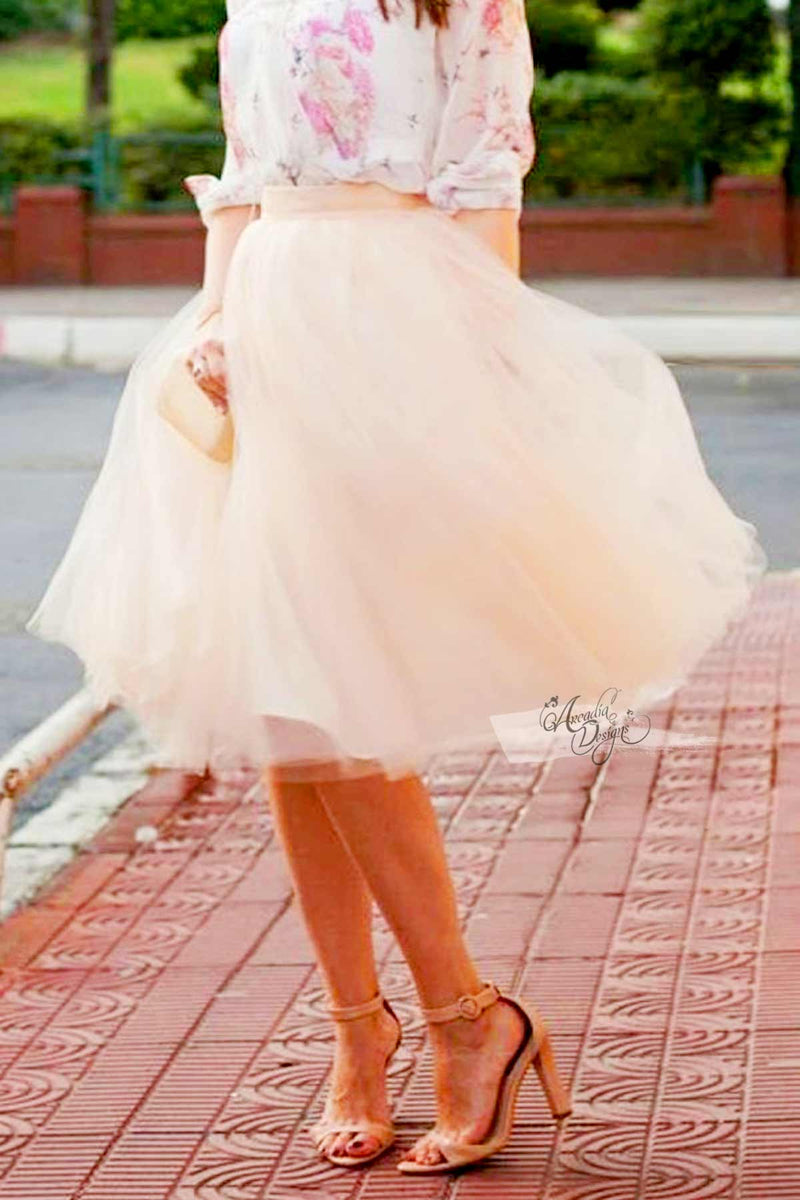 Arcadia Designs Natural White Tutu Skirt & Rose Gold Waist Bow Peach