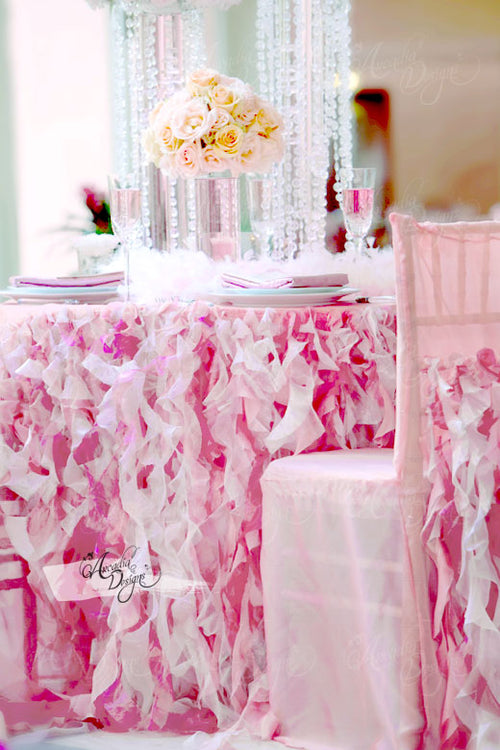 Pink Curly Sashes Ruffled Table Skirt