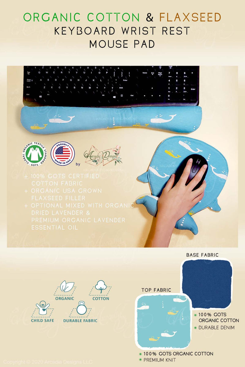 Blue whale Organic Cotton & Flaxseed Keyboard rest and Mouse Pad hand made in USA exclusive by Arcadia Designs