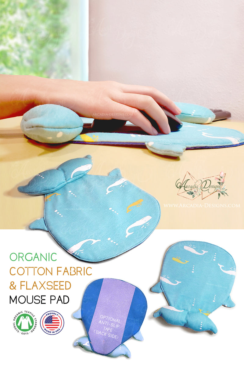 Blue whale Organic Cotton & Flaxseed Mouse Pad hand made in USA exclusive by Arcadia Designs