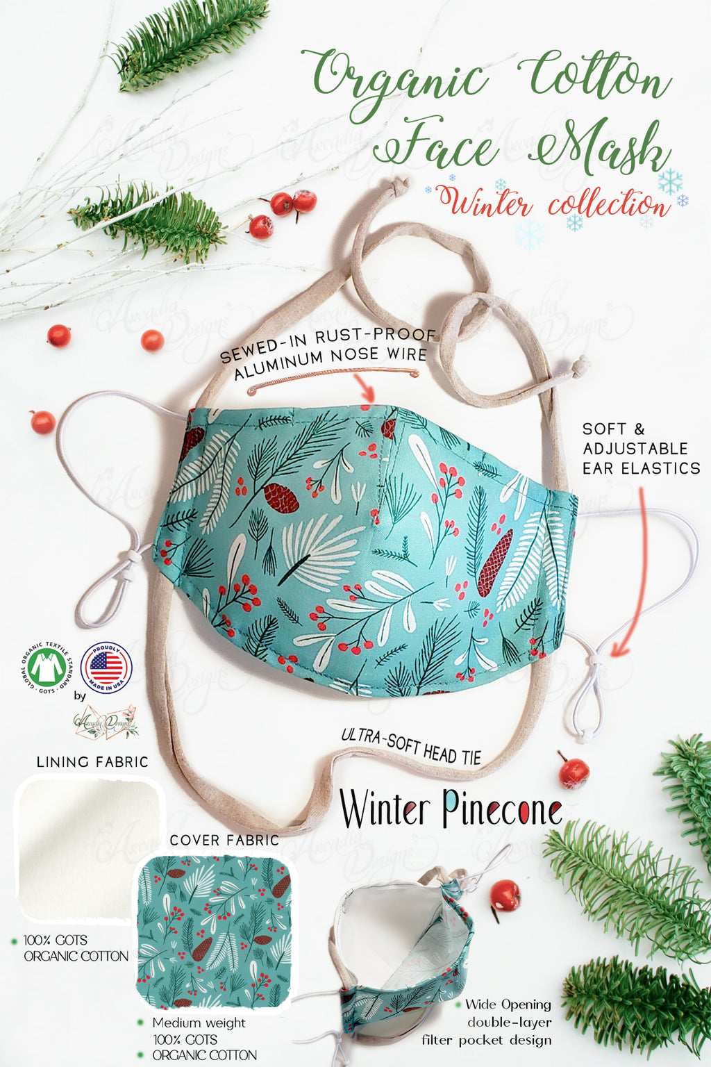pinecone teal winter holiday christmas theme GOTS certified Organic Cotton cloth face mask with nose wire head tie by Arcadia Designs LLC handmade  made in USA