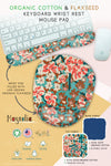 Green flower floral blossom magnolia tree Organic Cotton & Flaxseed Keyboard rest and Mouse Pad hand made in USA exclusive by Arcadia Designs