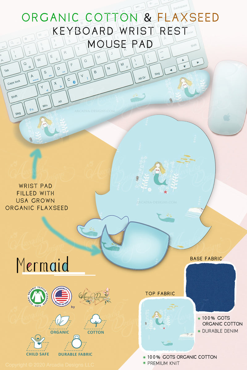 light blue mermaid  Organic Cotton & Flaxseed Keyboard rest and Mouse Pad hand made in USA exclusive by Arcadia Designs