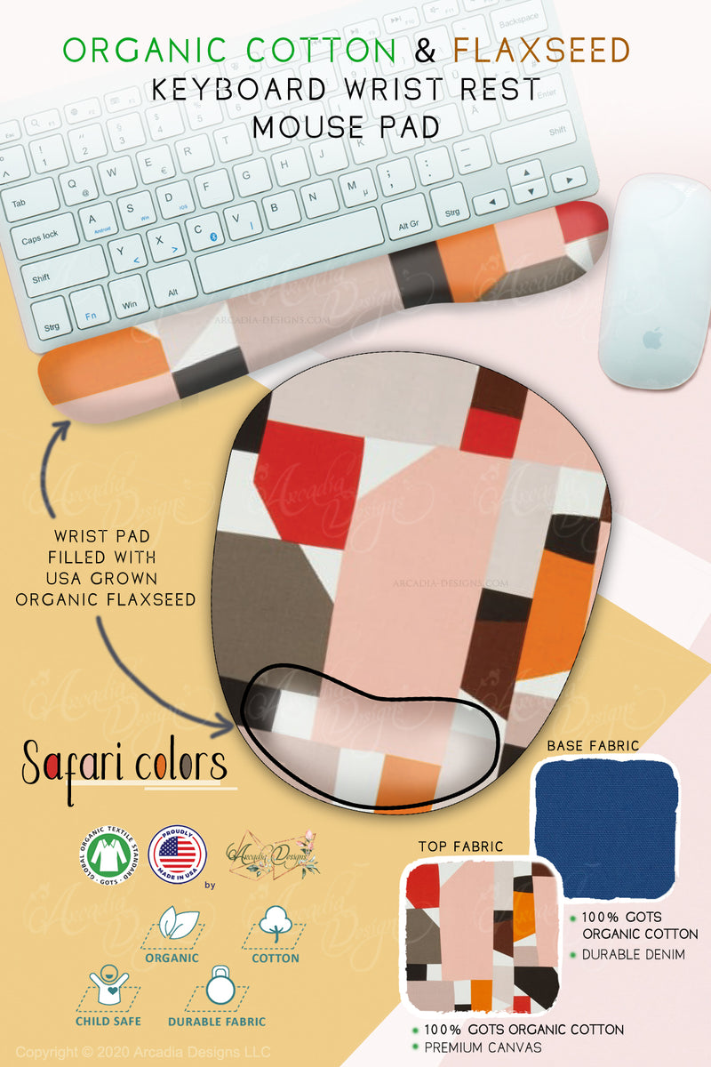 red blush brown safari color Organic Cotton & Flaxseed Keyboard rest and Mouse Pad hand made in USA exclusive by Arcadia Designs