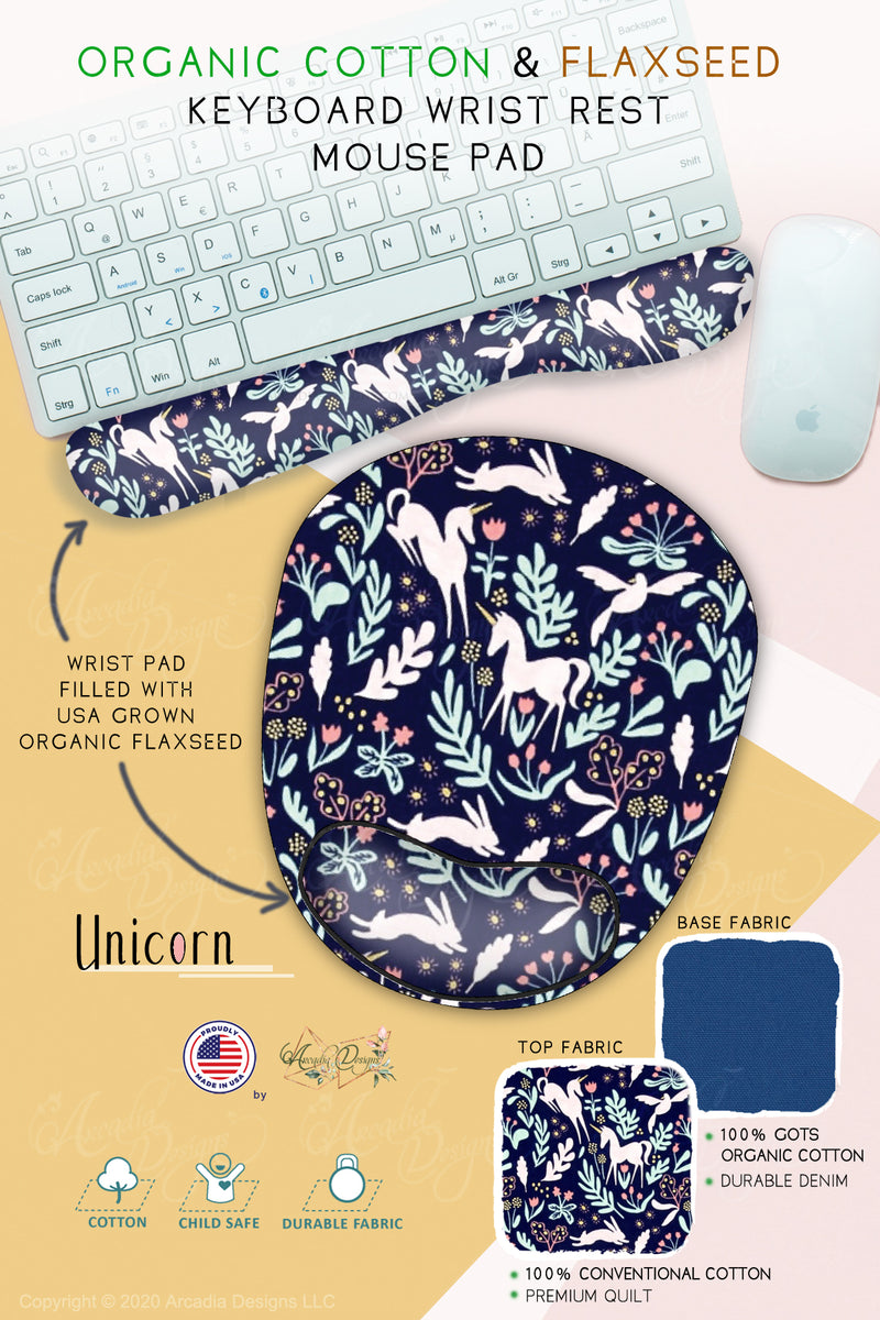Unicorn bunny light blue mermaid Cotton & Flaxseed Keyboard rest and Mouse Pad hand made in USA exclusive by Arcadia Designs