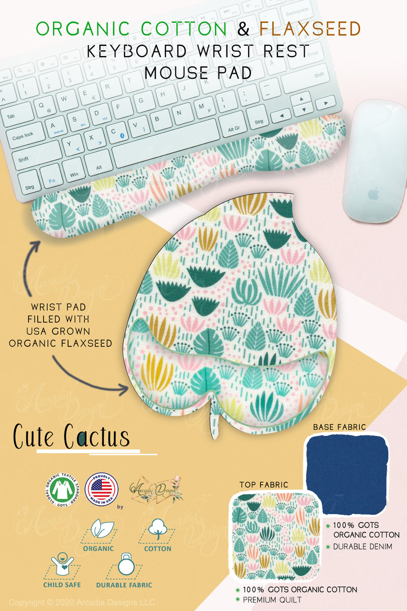 cutie cactus light blue mermaid  Organic Cotton & Flaxseed Keyboard rest and Mouse Pad hand made in USA exclusive by Arcadia Designs
