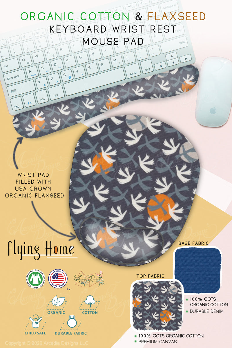 flying home japanese style Organic Cotton & Flaxseed Keyboard rest and Mouse Pad hand made in USA exclusive by Arcadia Designs