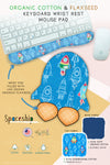 spaceship rocket ship blue Organic Cotton & Flaxseed Keyboard rest and Mouse Pad hand made in USA exclusive by Arcadia Designs