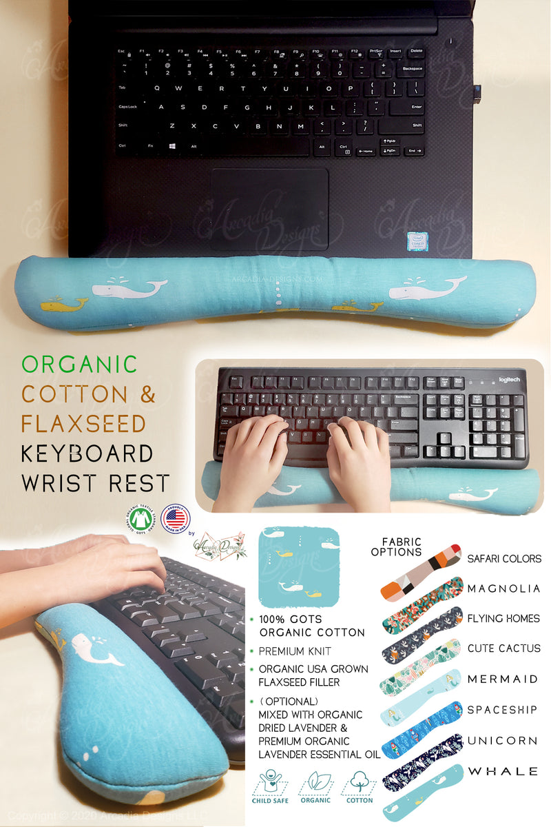 Blue whale Organic Cotton & Flaxseed Keyboard rest hand made in USA exclusive by Arcadia Designs