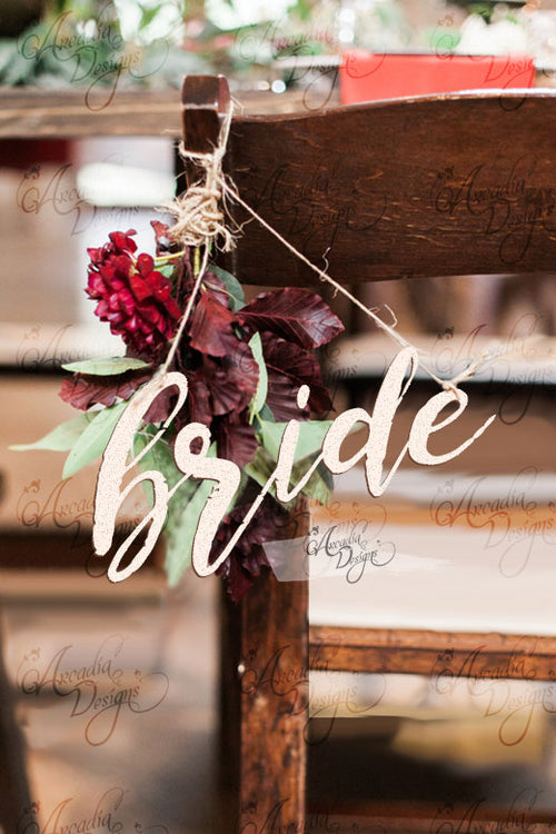Bride & Groom Wedding Wooden Chair Sign