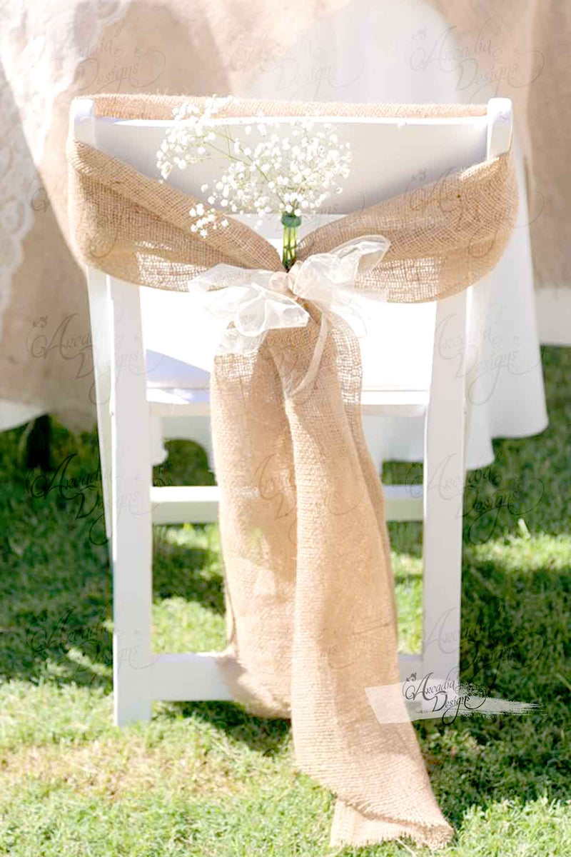 Arcadia Designs Natural Burlap Folding Chair Sash Regular