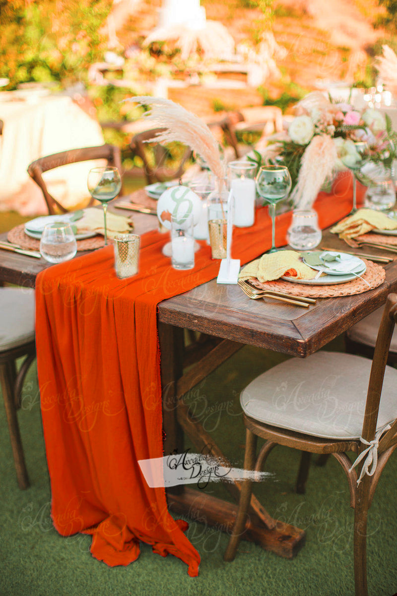 Fall orange chiffon table runner