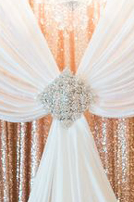 Pink and Gold Wedding Drapes