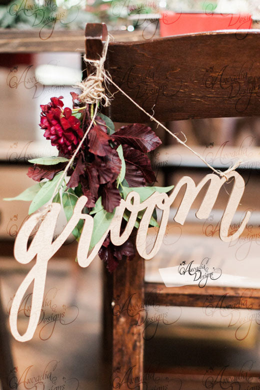 arcadia designs Bride & Groom Wedding Wooden Chair Sign