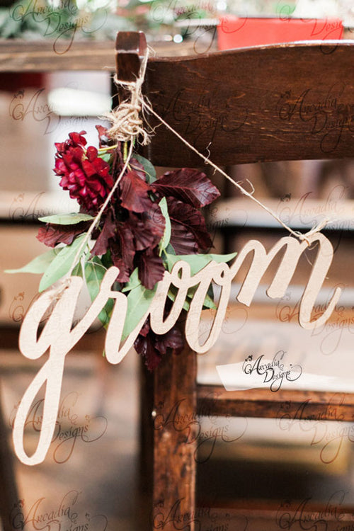Groom and Bride Chair Sign Décor