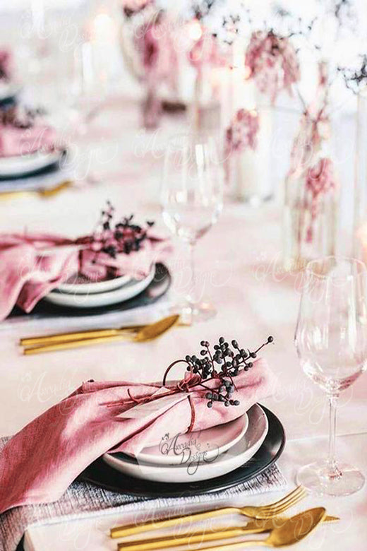 Arcadia Designs dusty rose pink square linen napkin for thanksgiving wedding reception dinner